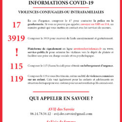 Informations COVID-19 : Violences conjugales et intrafamiliales