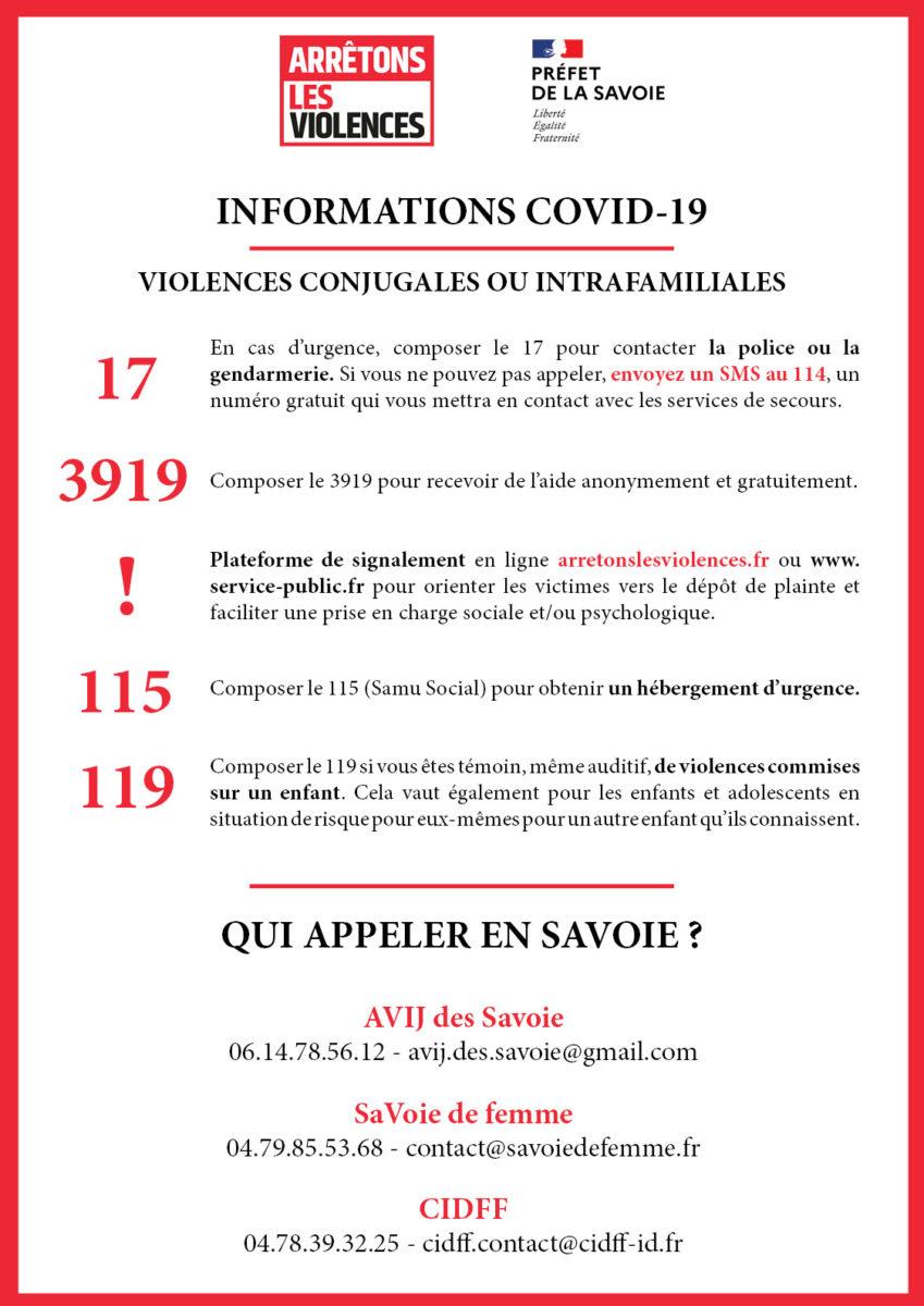 Informations COVID-19 : Violences conjugales et intrafamiliales